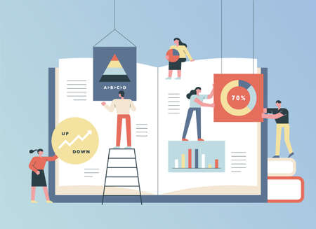 People are spreading a huge book and plotting pages together with graphs. flat design style minimal vector illustration. Vetores