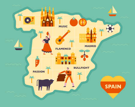 Composition of cultural icons on the Spanish map. flat design style minimal vector illustration. 矢量图像