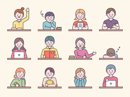 Students sitting at desks in school class. Each one is doing different things. flat design style minimal vector illustration.