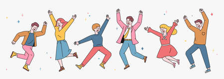 People are jumping with joyful expressions. A character with an outline of young adults in casual fashion. flat design style minimal vector illustration. 일러스트