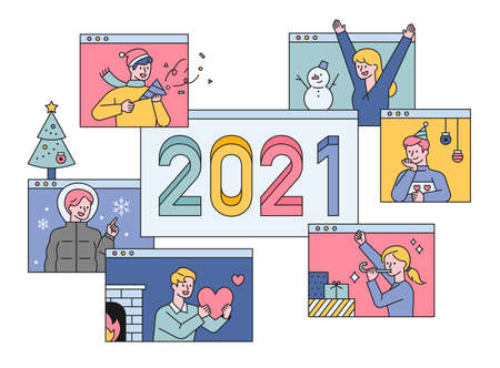 2021 Happy new year greeting. People who greet the New Year with video messages in the virus pandemic situation. flat design style minimal vector illustration. 스톡 콘텐츠 - 160584201