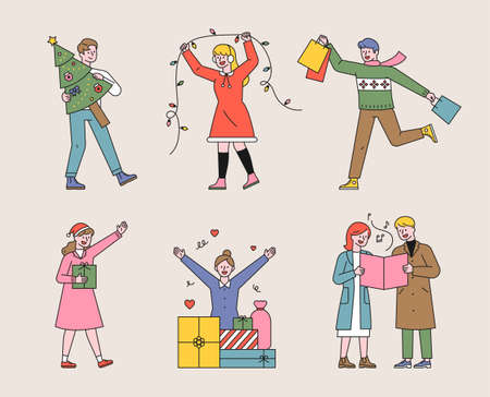 Christmas and people characters. People are decorating trees, giving gifts, and singing carols. flat design style minimal vector illustration. 스톡 콘텐츠 - 160583708