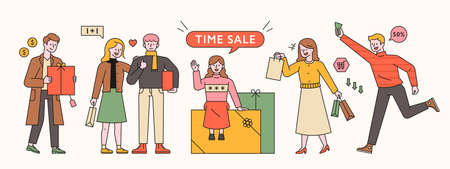 People are standing with gift boxes and shopping bags. Time Sale Event Batter Character. flat design style minimal vector illustration. 스톡 콘텐츠 - 160729200