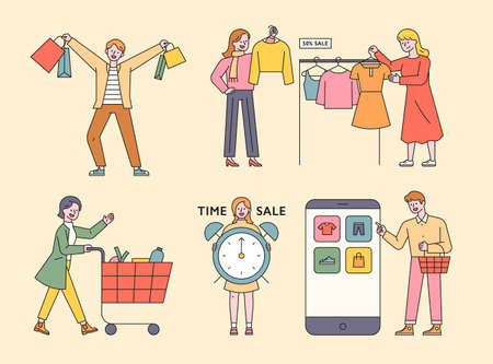 Customer character shopping. People shop on mobile, push shopping carts, pick clothes in a clothing store, and stand with watches. flat design style minimal vector illustration. 스톡 콘텐츠 - 160729249