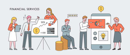 Finance professionals character concept banner. Financial experts give presentations and do mobile work. flat design style minimal vector illustration. 스톡 콘텐츠 - 160887810