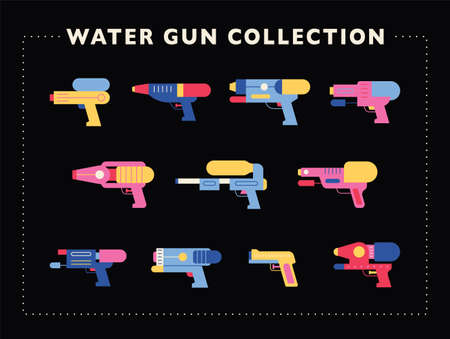 A collection of various water gun designs. flat design style minimal vector illustration. 스톡 콘텐츠 - 160967035
