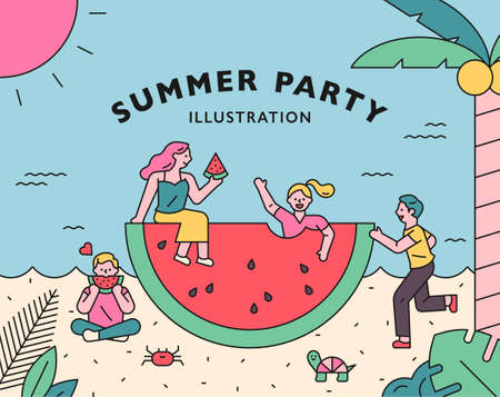 Summer party poster. People are having a party while eating watermelons around a large watermelon. flat design style minimal vector illustration. 스톡 콘텐츠 - 160967068