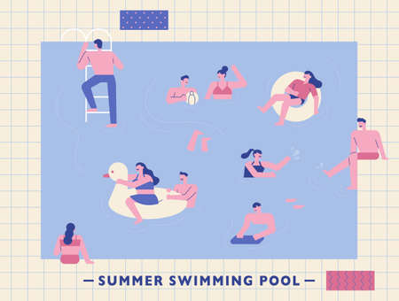 People are playing in the swimming pool. Swimming pool background and simple people characters. flat design style minimal vector illustration. 스톡 콘텐츠 - 160967070