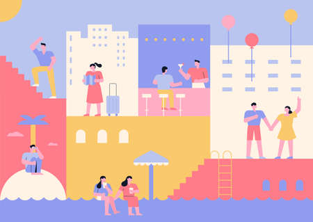 flat puzzle hotel space travelers. Guests with luggage, people drinking at the bar, friends playing in the pool. flat design style minimal vector illustration. 스톡 콘텐츠 - 160967073