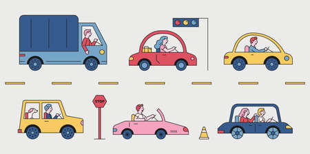 Various cars running on the road. A side view of the driver in a car is visible. flat design style minimal vector illustration. 스톡 콘텐츠 - 160967079