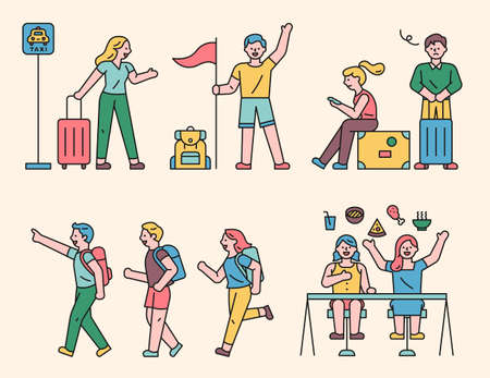 People going on a trip. People who travel with a bag tag, people who eat local food, people who hold flags, etc.flat design style minimal vector illustration. 스톡 콘텐츠 - 160967083