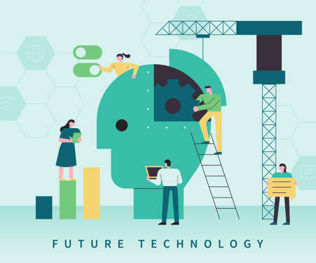 Future technology concept web banner template. There is a gear in the shape of a huge human head, and people are doing research around it. flat design style minimal vector illustration. 스톡 콘텐츠 - 160967087
