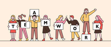 Web banner of teamwork concept. People stand holding boards with teamwork written on them. flat design style minimal vector illustration. 스톡 콘텐츠 - 160967353