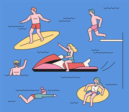 People who enjoy playing in the water at the beach. People surfing and diving with jet skis. flat design style minimal vector illustration. 스톡 콘텐츠 - 160967356