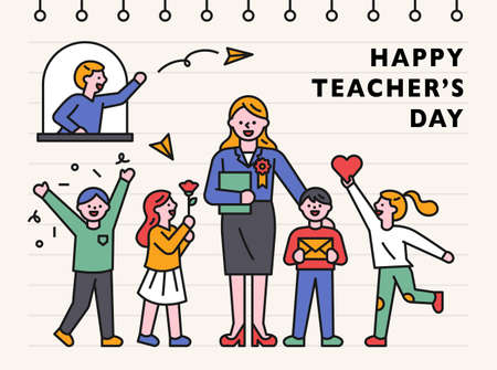 Teacher's Day banner template. Children are giving their teachers gifts of love and gratitude. flat design style minimal vector illustration. 스톡 콘텐츠 - 160967358