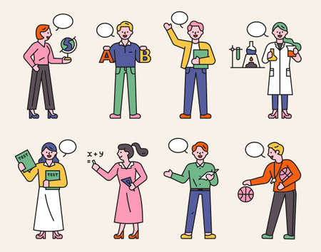 A collection of teacher characters in various subjects. People stand with various class subject icons in their hands. flat design style minimal vector illustration. 스톡 콘텐츠 - 160967365