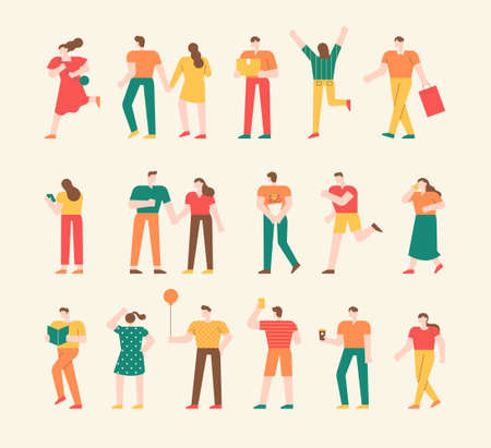 Collection of simple people characters. A collection of street crowds in various actions and poses. flat design style minimal vector illustration. 스톡 콘텐츠 - 160967367