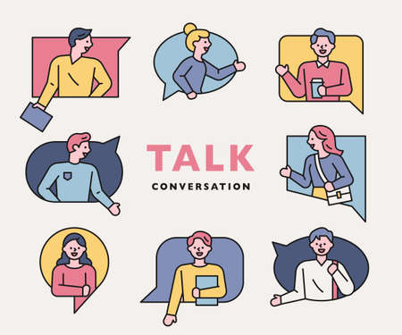 Conversation people icons collection. People are making gestures in various types of speech balloons. flat design style minimal vector illustration. 스톡 콘텐츠 - 160967368