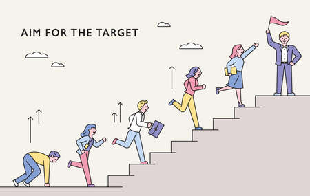 Business people concept moving towards the goal. People are running up the stairs. flat design style minimal vector illustration. 스톡 콘텐츠 - 160967369