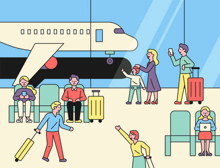 You can see the airplanes outside the window with travelers at the airport. Many people on the airport background. flat design style minimal vector illustration. 스톡 콘텐츠 - 160967444