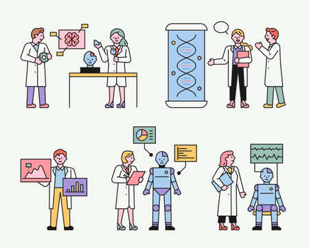 Scientists studying robots. Team members doing research with the lab's equipment. flat design style minimal vector illustration. 스톡 콘텐츠 - 160967448