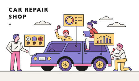 Car repair shop banner. Automotive experts are analyzing and repairing problems around the car. flat design style minimal vector illustration. 스톡 콘텐츠 - 160967454