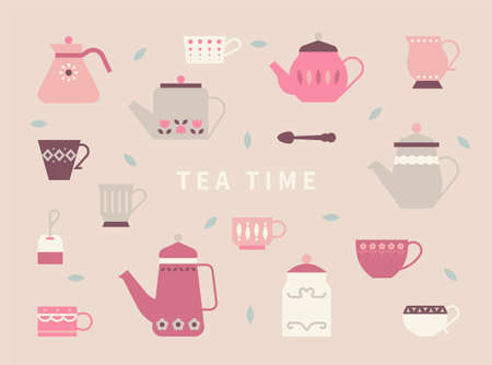 Cute teapots and tea cups with retro patterns. flat design style minimal vector illustration.