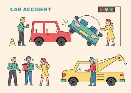 An insurance company employee and a tow truck came after a car accident. flat design style minimal vector illustration. 스톡 콘텐츠 - 160967495