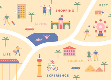 Tourism map concept. Touristic icons and tourists on the map. flat design style minimal vector illustration. 스톡 콘텐츠 - 160967496