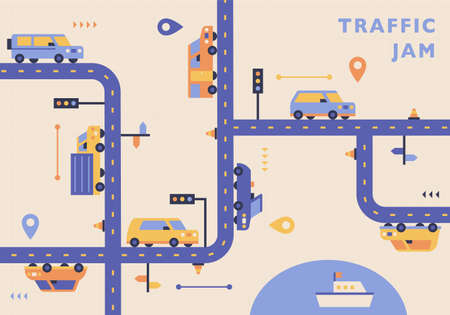 Cars are running on a complicated line. traffic jam map concept. flat design style minimal vector illustration. 스톡 콘텐츠 - 160967510