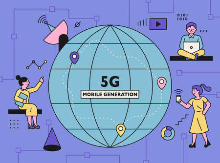 5G internet technology concept poster. People and technology icons using networks are decorated around the globe. flat design style minimal vector illustration. 스톡 콘텐츠 - 160967511