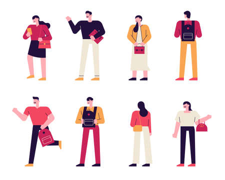 Bags and people in different styles. A simple human character is holding a bag of various fashion styles. flat design style minimal vector illustration. 스톡 콘텐츠 - 160967515
