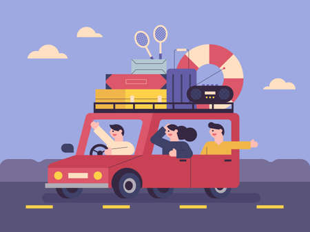 People who travel with their luggage in their car. People are making joyful expressions in the car. Car on the road. flat design style minimal vector illustration. 스톡 콘텐츠 - 160967520