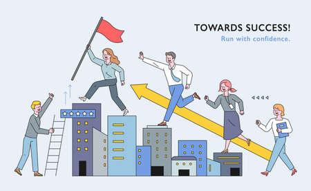 Business people are climbing the building like stairs. People are following the lead with flags. flat design style minimal vector illustration. 스톡 콘텐츠 - 161087846