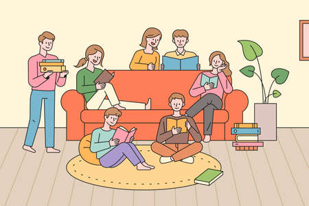 People in a group reading a book. Many people are sitting around the sofa and reading together. flat design style minimal vector illustration. 스톡 콘텐츠 - 161087849
