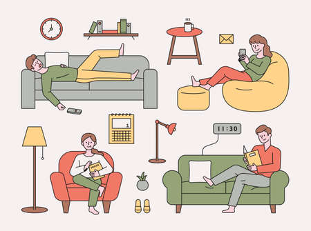 People are resting on various types of sofas. Sleeping, reading books, watching TV, and using mobile phones. flat design style minimal vector illustration.