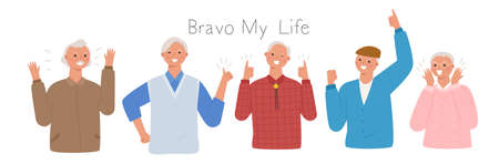 Collection of male senior characters. grandfathers are making a lively and positive gesture. flat design style minimal vector illustration.