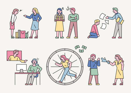 Various stressful situations of workers. An angry customer, an angry boss, and a worker spinning the wheel for pay.