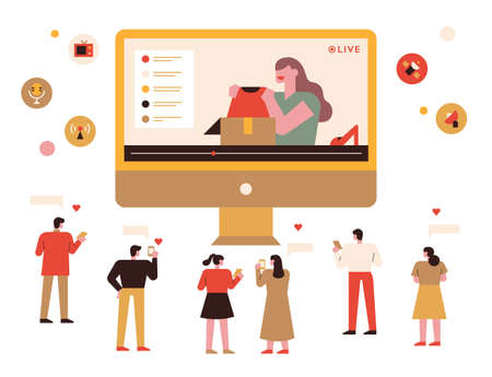 Social media influencers and followers. On a large monitor, a woman is reviewing her merchandise and people around her are sending her hearts.