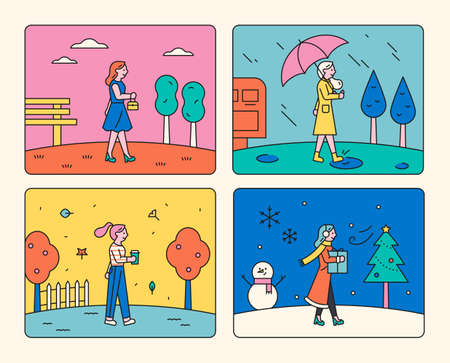 Four seasons weather. A woman walking on the road with spring, summer, autumn, and winter backgrounds in four frames. Vecteurs