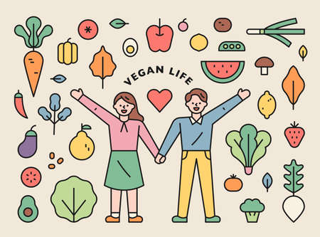 Vegan life icon set. A couple of men and women hold hands, and vegetables and fruit icons are organized around them. Vecteurs
