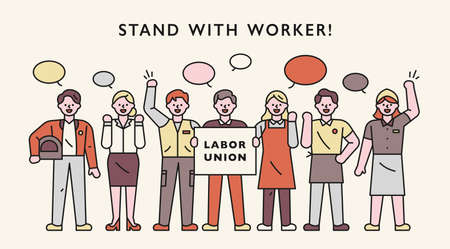 Labor union characters. Workers stand in line and argue their opinions.