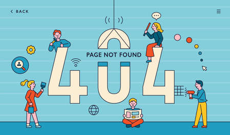 web page not found. 404 error message. People fixing computers around the big 4040 numbers.