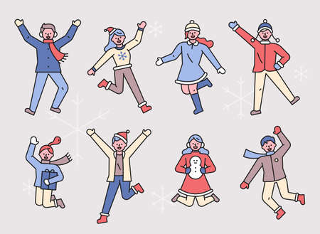 People jumping in winter clothes. People character in simple icon style.
