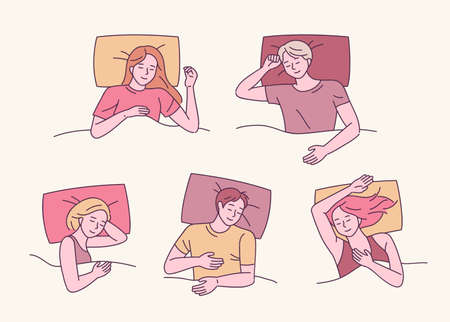 A collection of various sleeping poses. People are sleeping in various positions. vector design illustrations. Vetores
