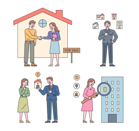Collection of real estate characters. People are looking for a house contract, a property introduction, an explanation, and a magnifying glass.