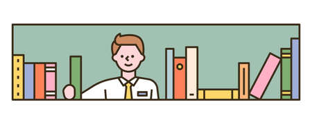 A boy is holding a book from the bookshelf. flat design style minimal vector illustration.