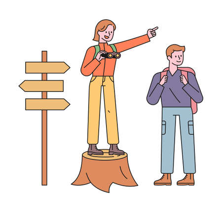 Men and women backpackers are looking for a way. A woman is standing on a tree stump and pointing in the direction, and the man is looking at it. flat design style minimal vector illustration.