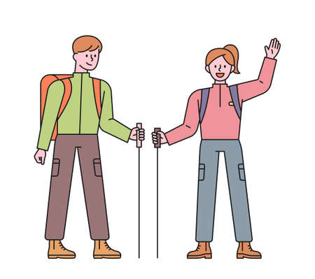 Men and women backpackers. A man and a woman are greeting with poles in their hands. flat design style minimal vector illustration.