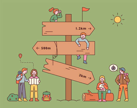 A huge milestone with backpackers. People are finding their way around the signpost and taking a break. flat design style minimal vector illustration.